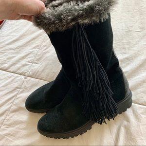 Sam Edelman Shoes - Sam Edelman Black Tilden Faux Fur Fringe Boot